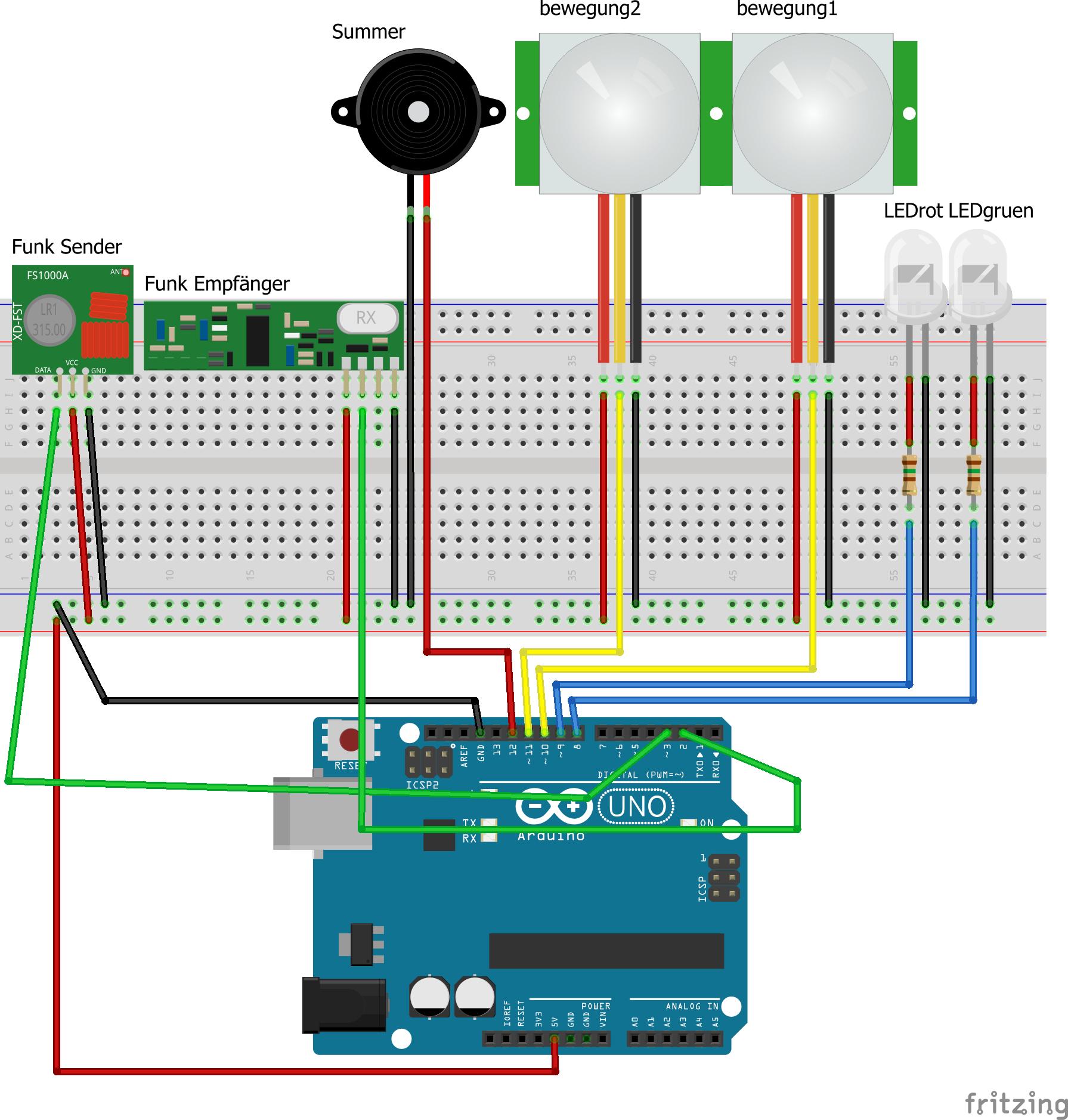 alarmanlage mit arduino uno - arduino-projekte