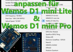 Installation Wemos D1 mini Lite & Pro